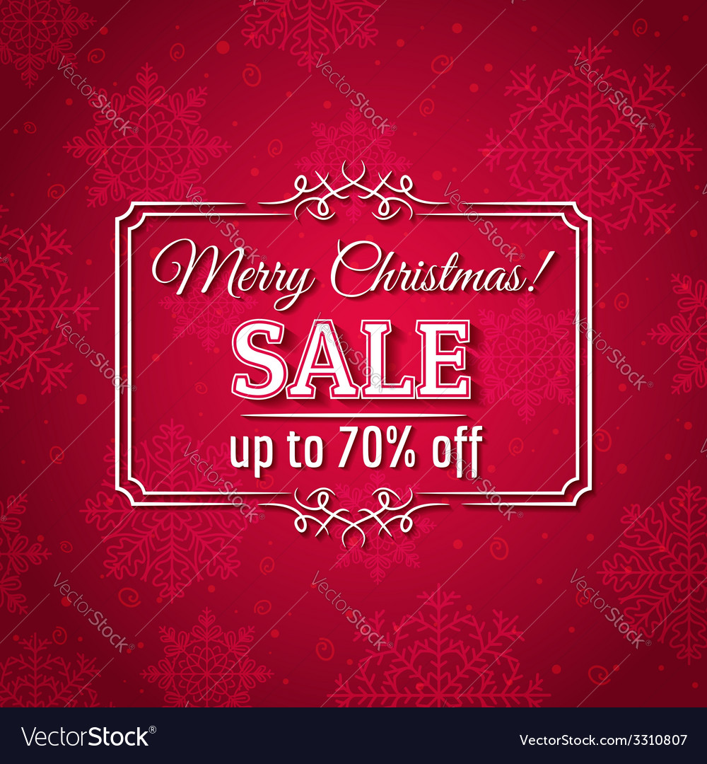 Red christmas background and sale offer vector