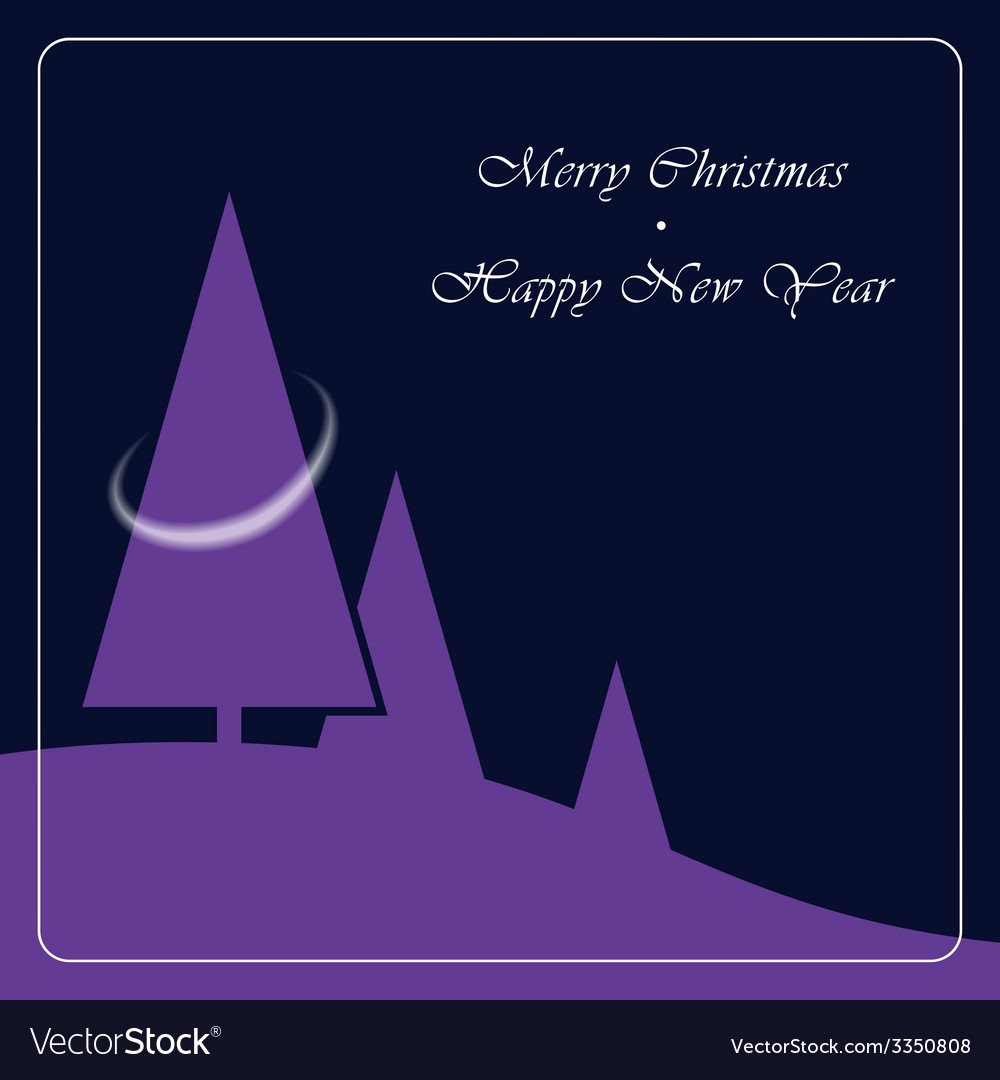 Christmas and new year scenery with three trees vector