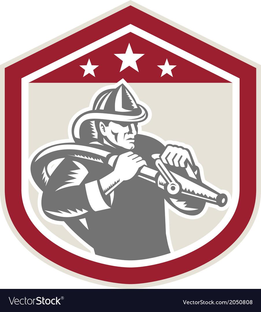 Fireman firefighter fire hose shield retro vector