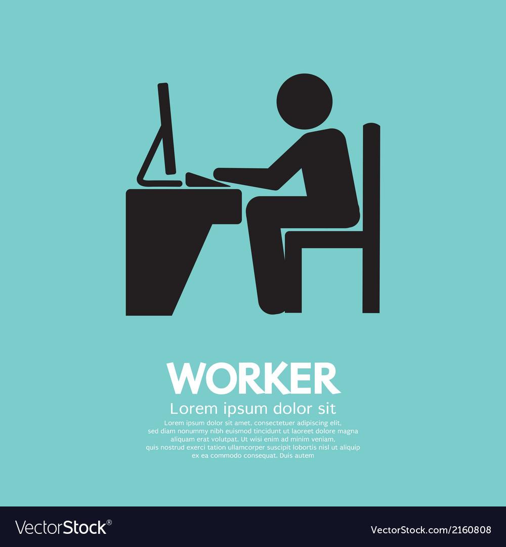 Office worker using computer vector