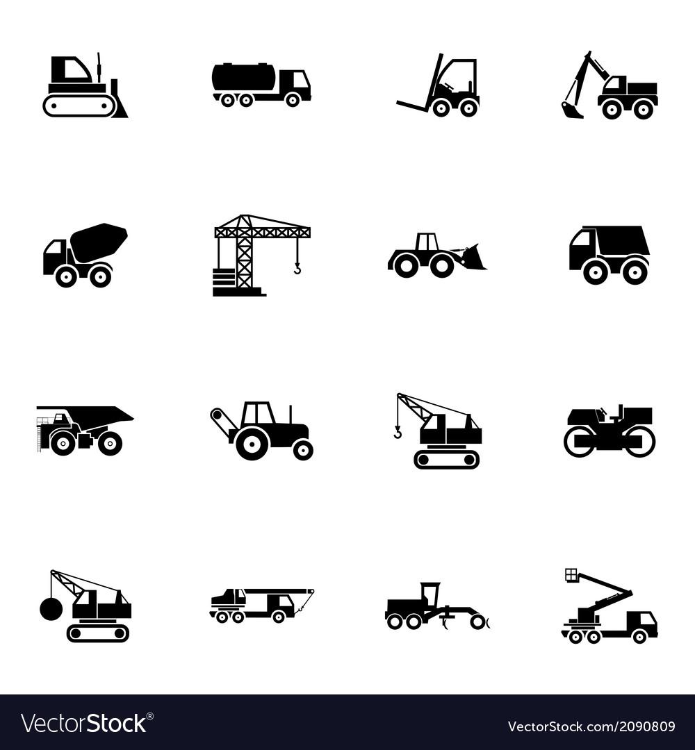Black construction transport icons set vector