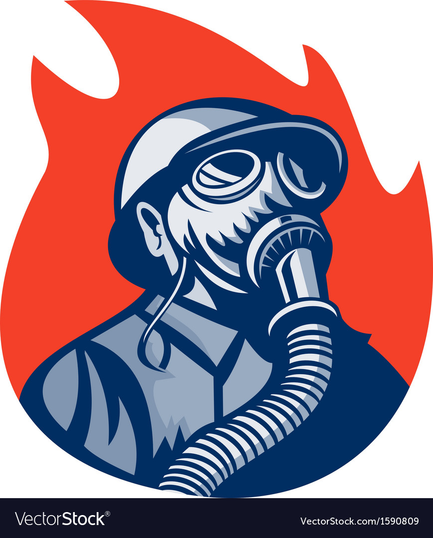Fireman or firefighter wearing vintage gas mask vector