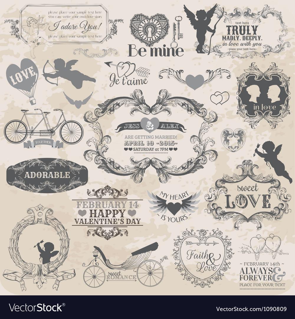 Valentines day vintage set vector