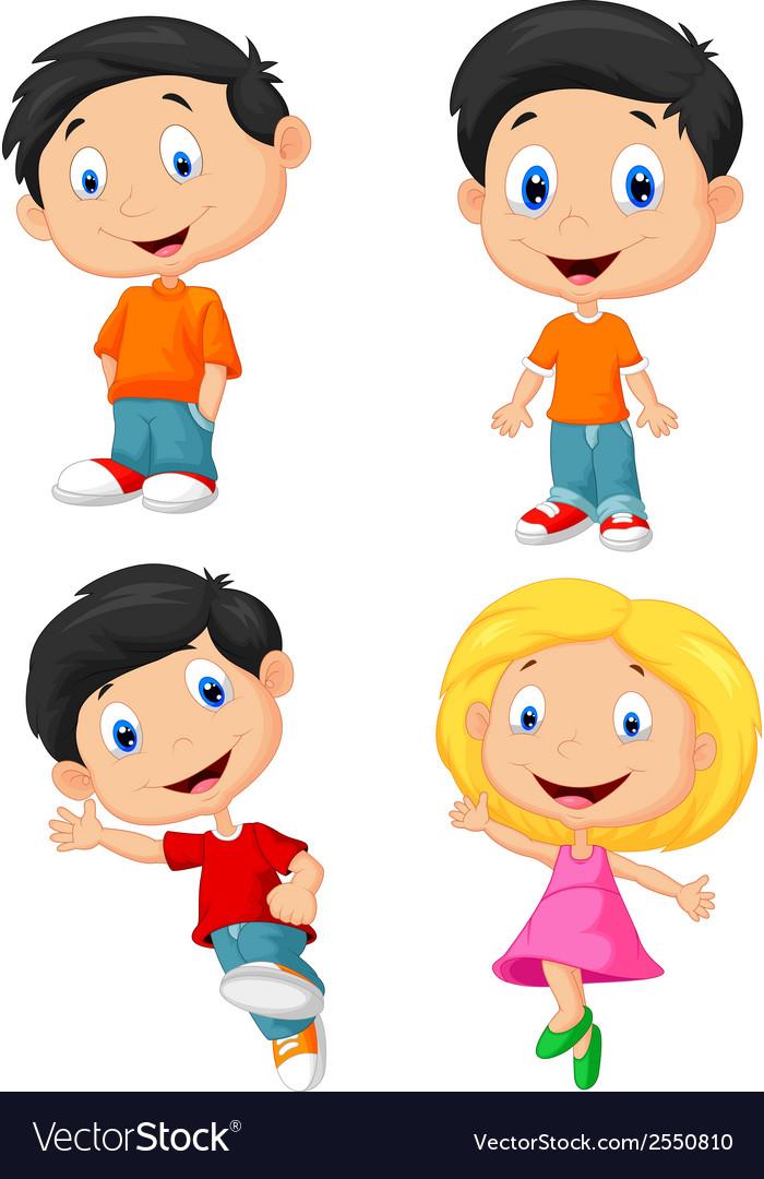 Happy children cartoon vector