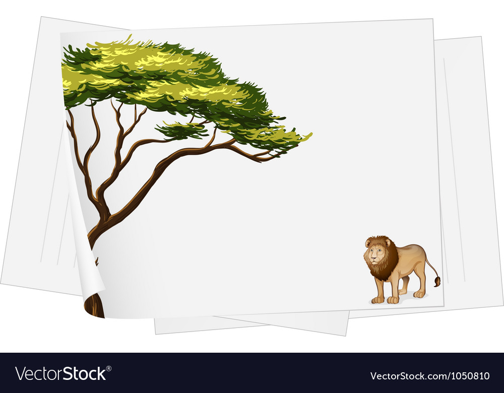 Papers and lion drawing vector