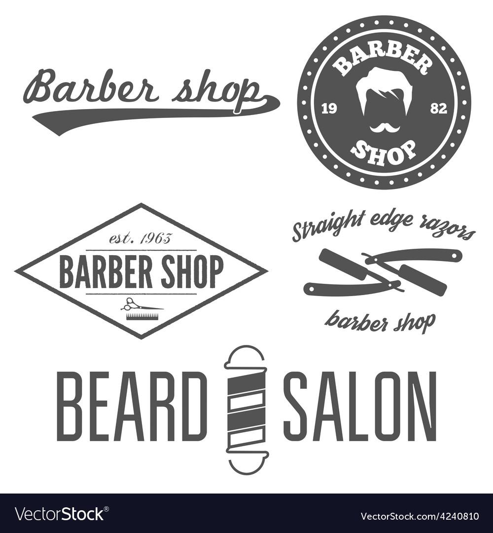 Set of vintage barber shop logo labels prints vector