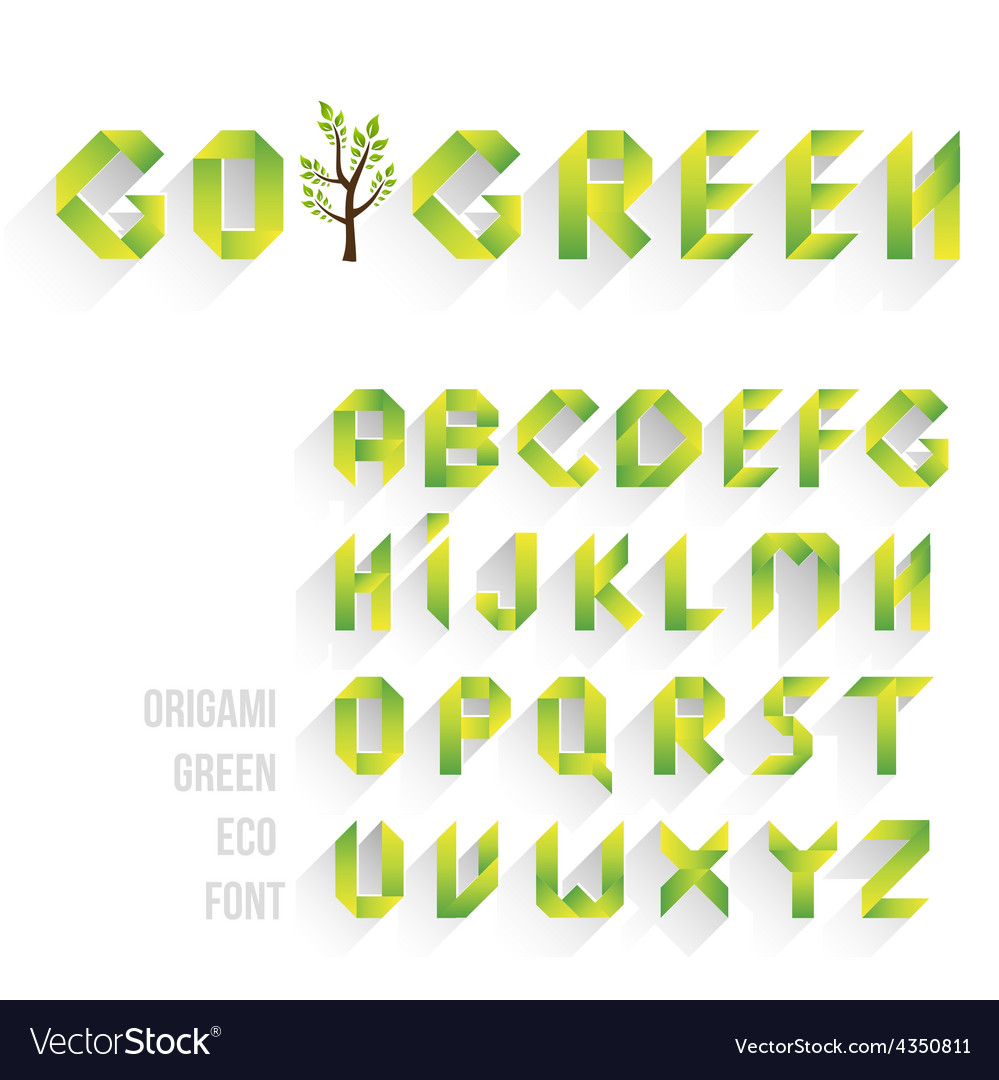 Origami green eco font vector