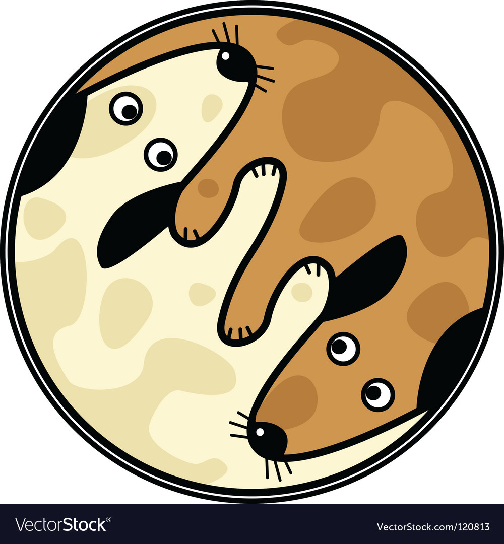Yinyang dogs vector