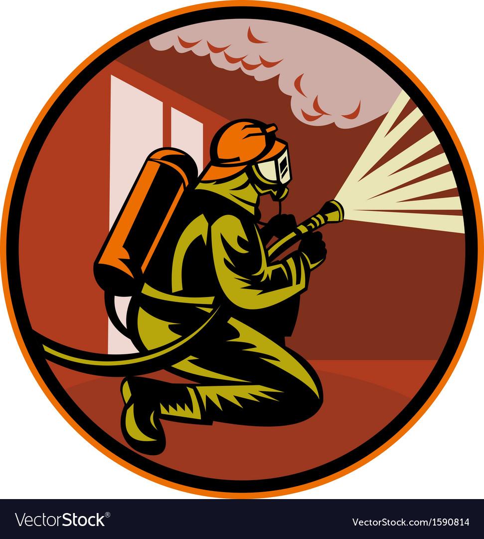 Fireman firefighter kneeling with fire hose vector