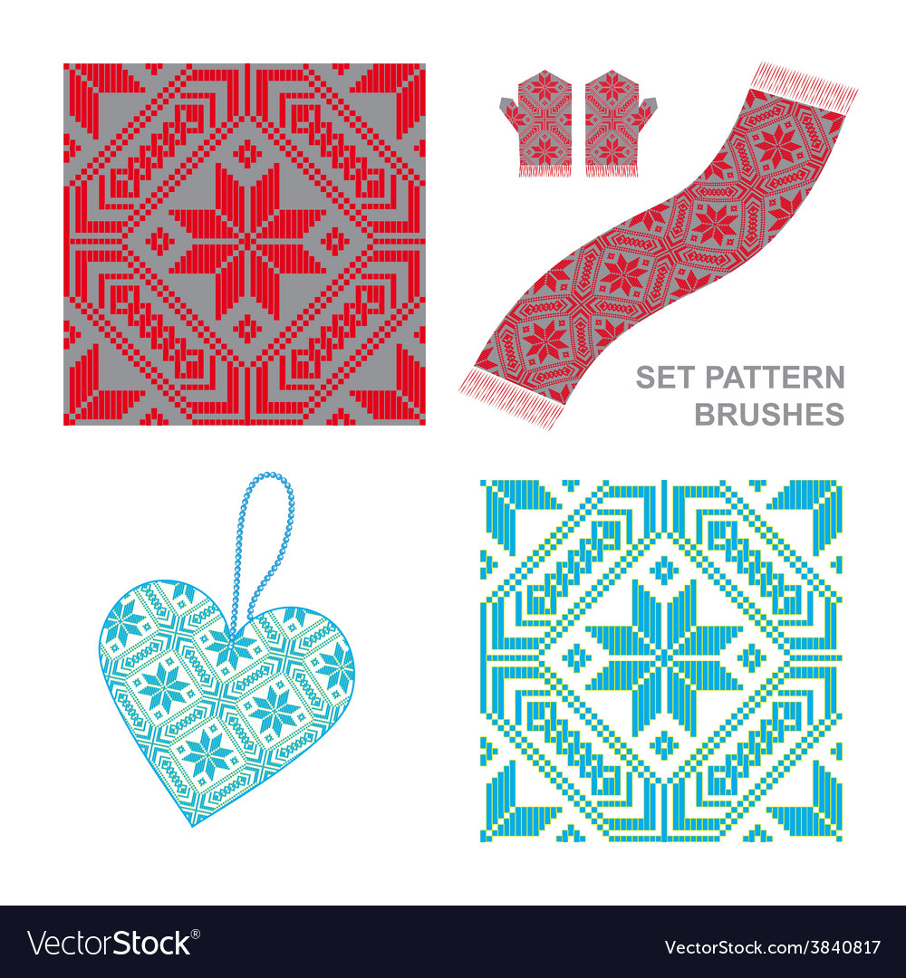 Ethnic ornament pattern brushes vector