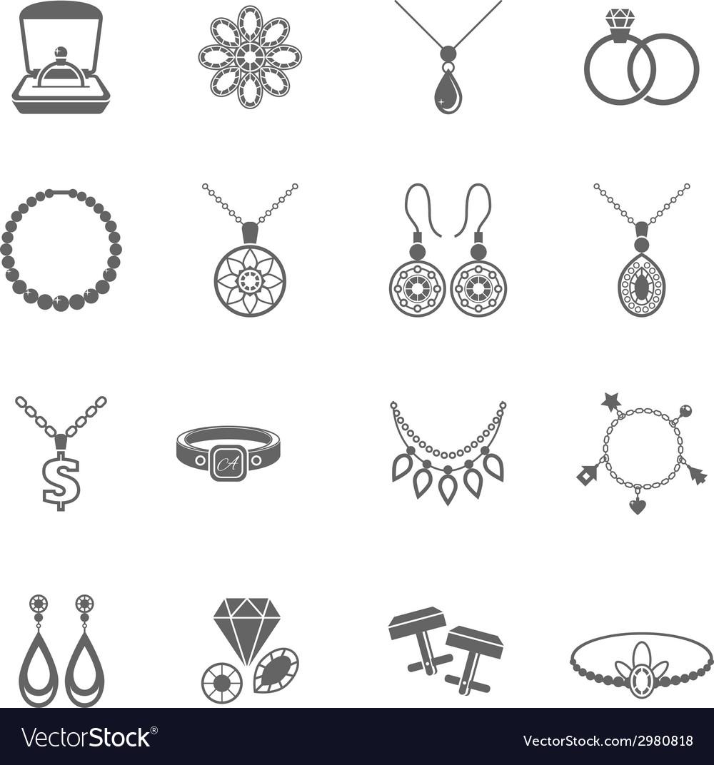 Jewelry icon black vector