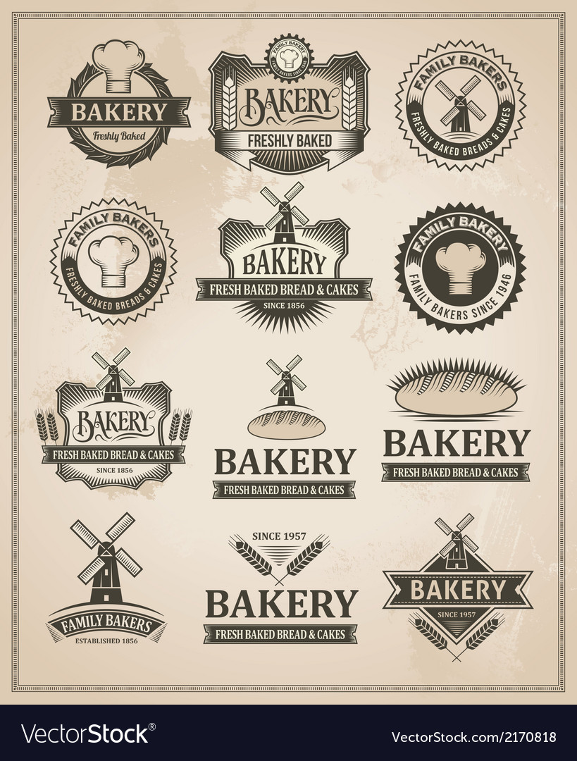 Vintage retro bakery label set vector
