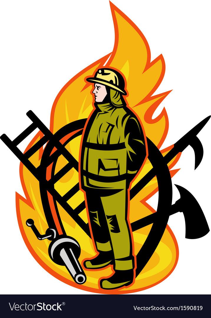 Fireman firefighter axe ladder spear hook hose vector