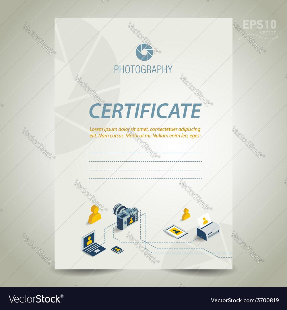 Photography certificate template design camera vector