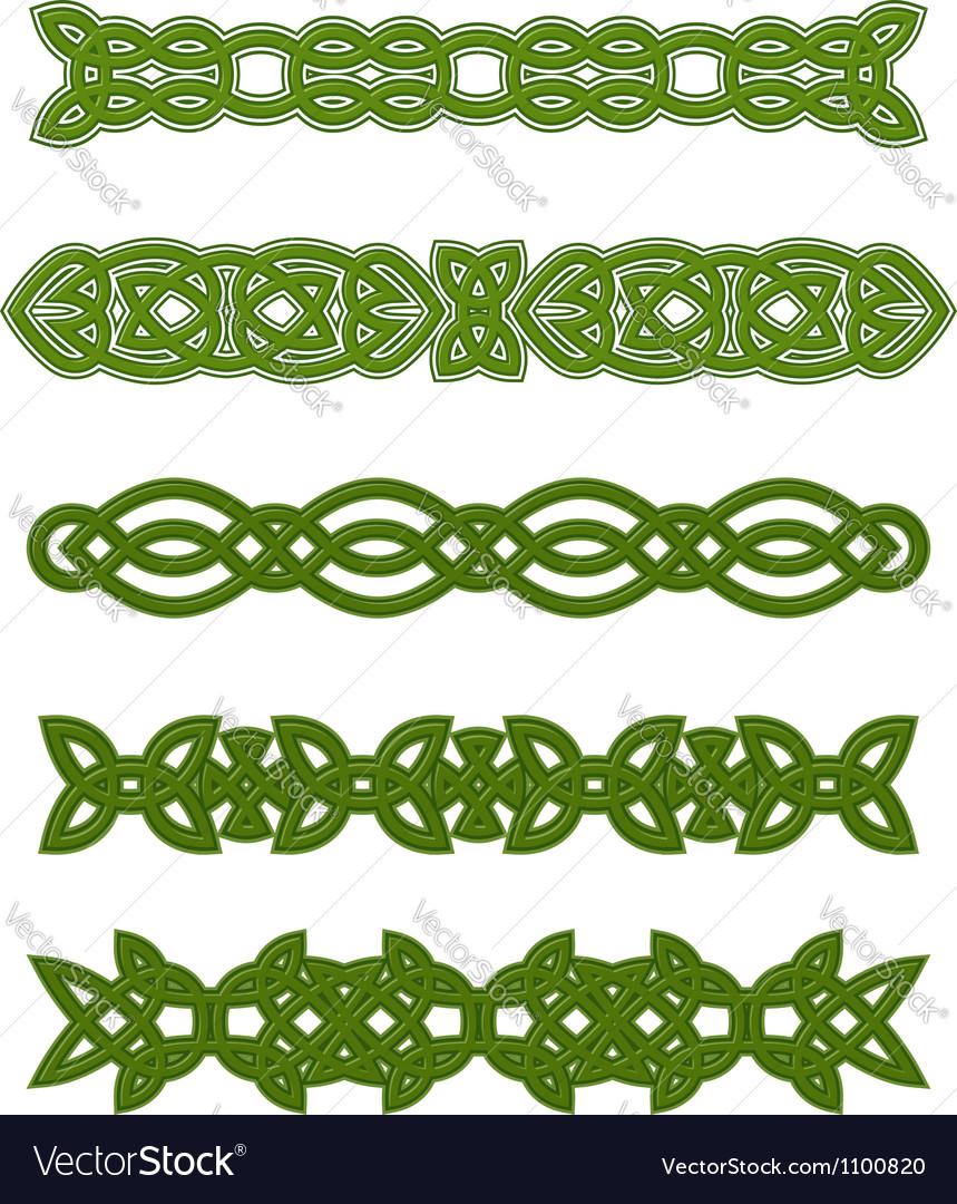 Green celtic ornaments and embellishments vector