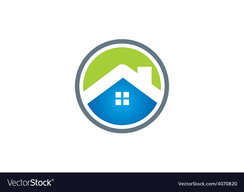 Home roof business construction icon logo vector
