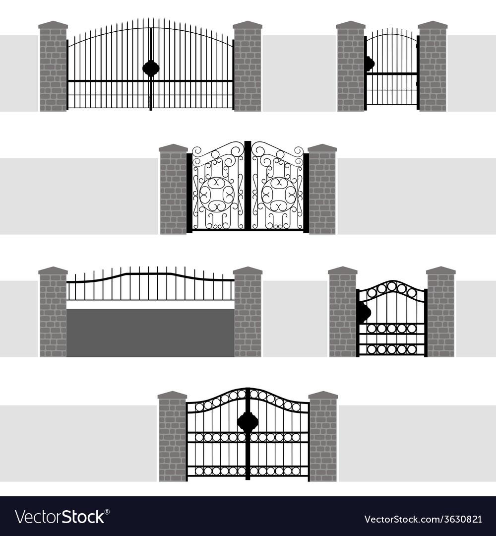 Entrance gate door fence garden vector