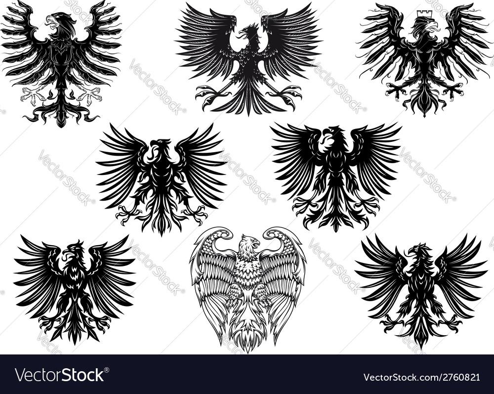Heraldic royal medieval eagles vector