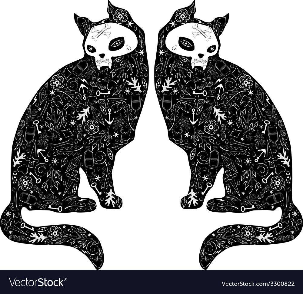 Cats tattoo vector
