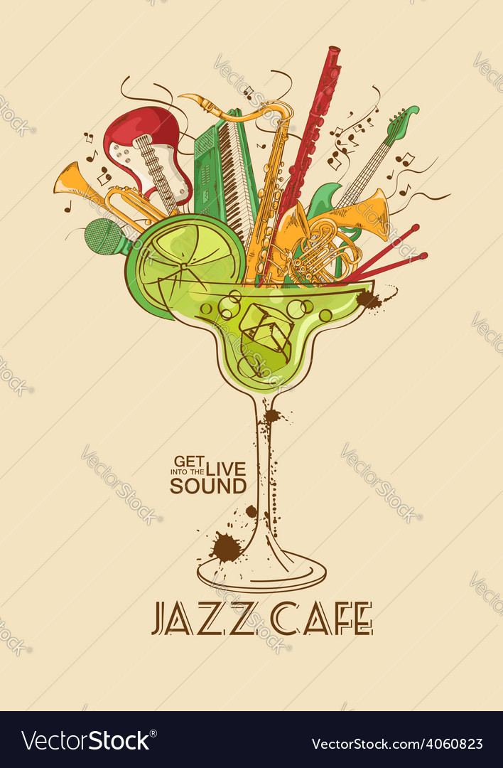 Jazz cafe concept with musical instruments in a vector