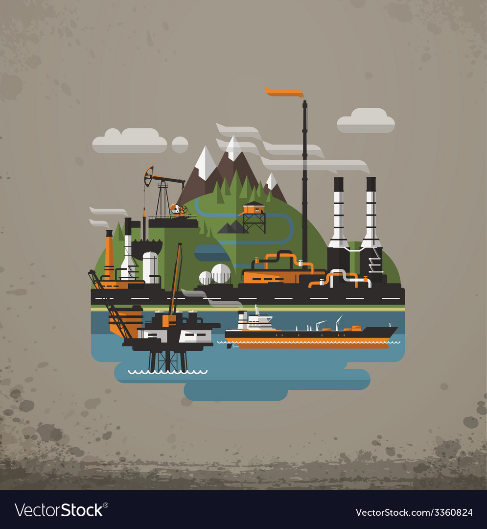 Abstract industrial factory manufacture building vector