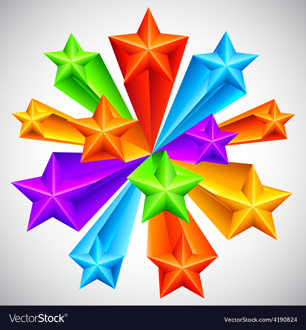 Color stars background vector
