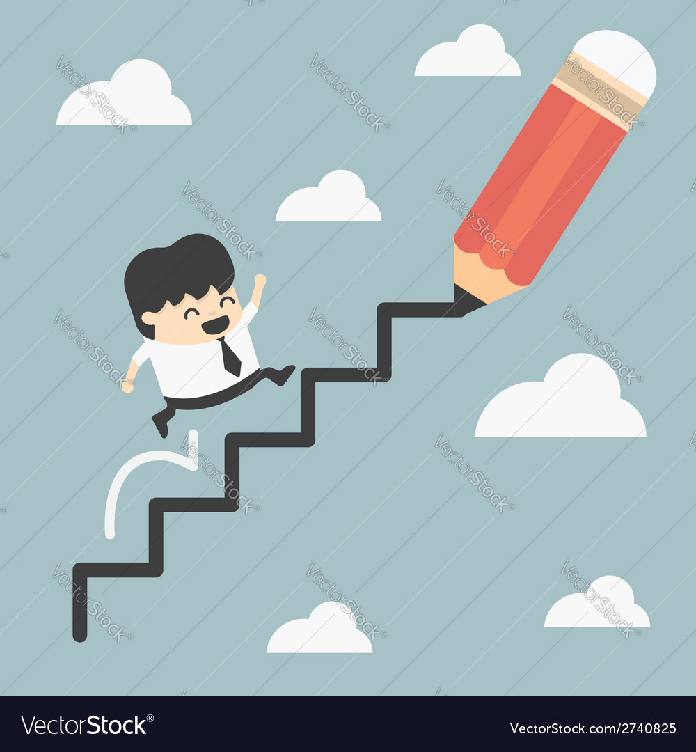 Climbing ladder of success vector