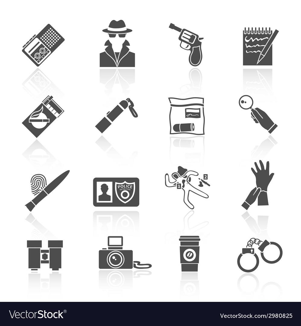 Detective icons set black vector