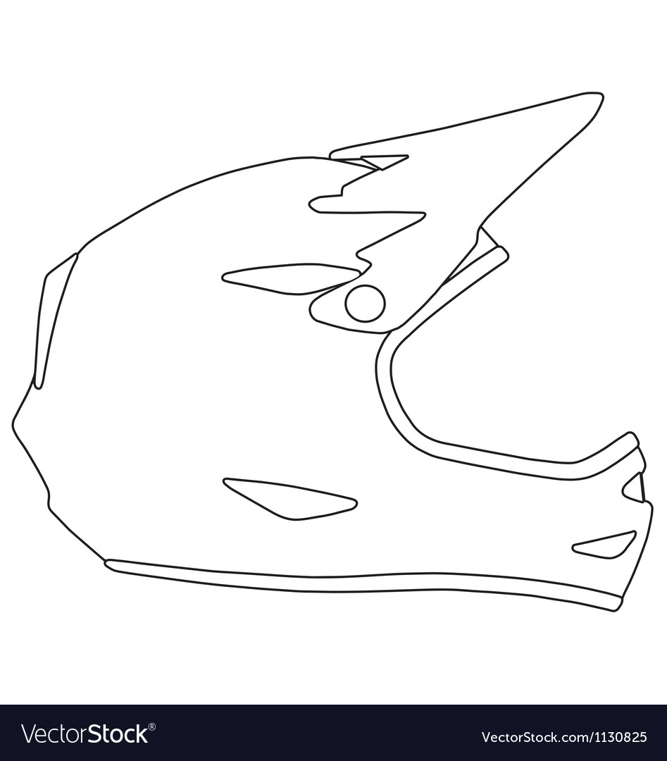 Downhill mountain biking full face helmet vector