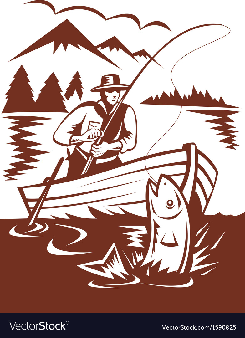 Fly fisherman catching trout on boat vector