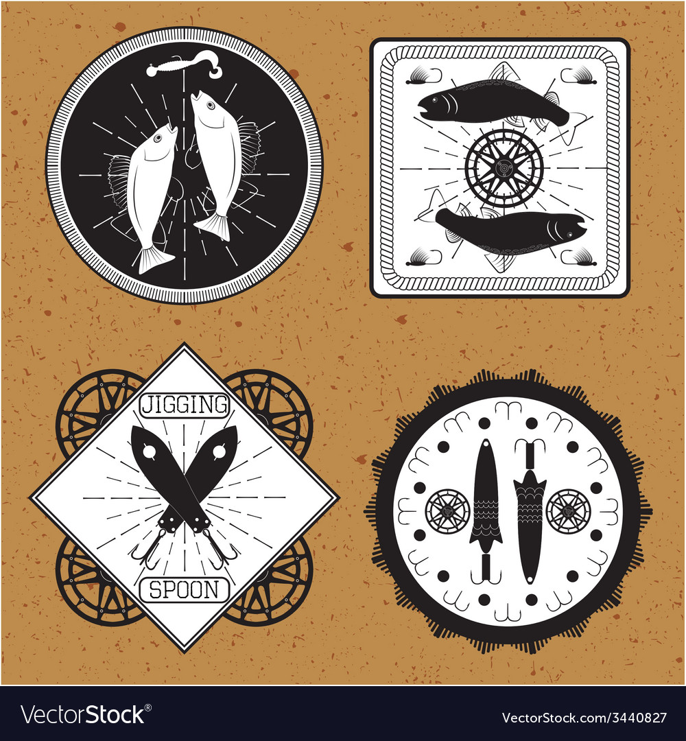 Stickers labels on the theme of fishing vector