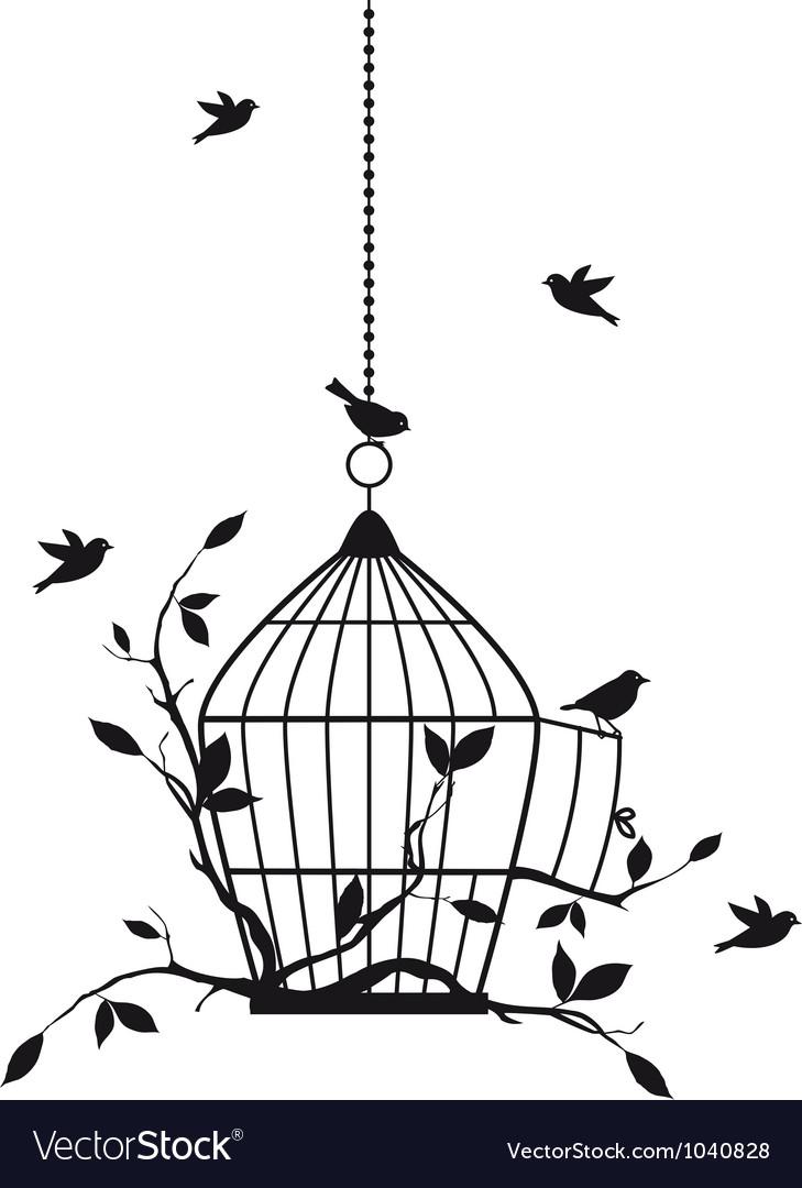 Birds with birdcage vector