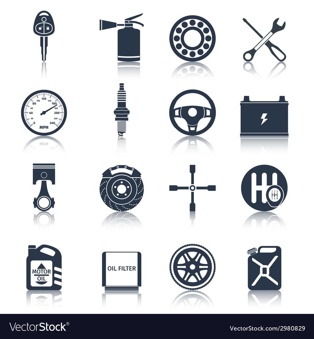 Car parts icons black vector