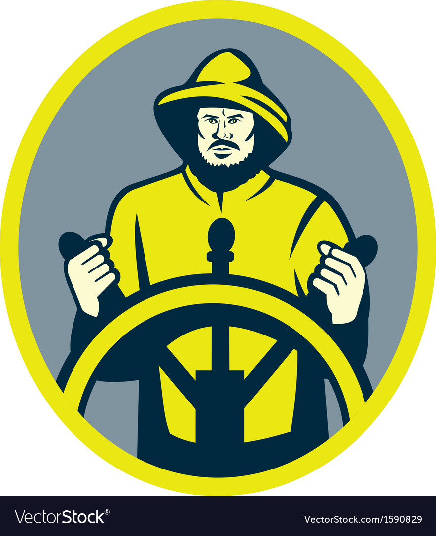 Fisherman ship captain at the wheel or helm vector