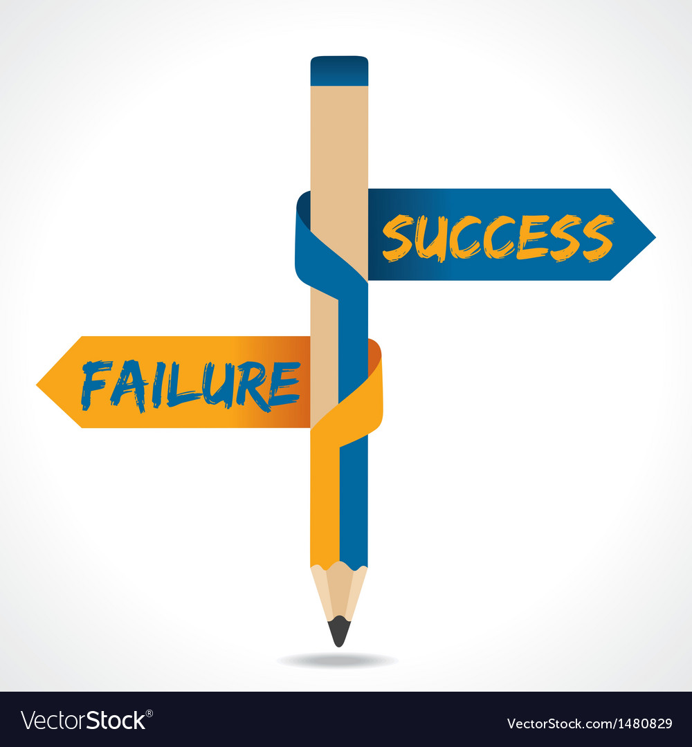 Success and ailure arrow in opposite of pencil vector