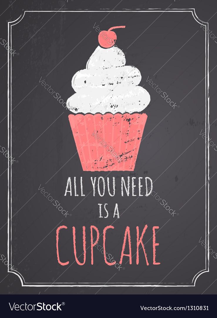 Chalkboard cupcake design vector