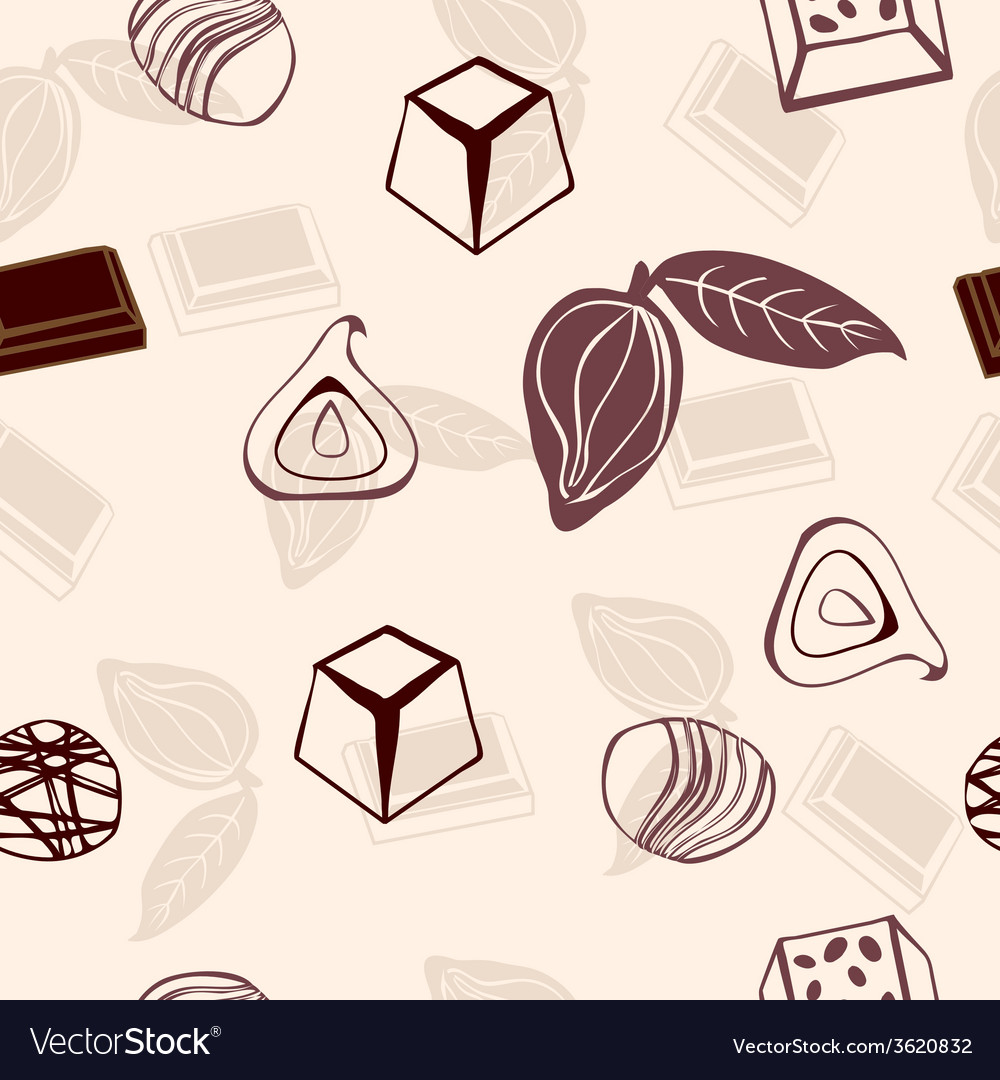 Chocolate pattern hand-drawn vector