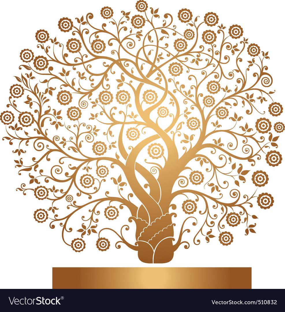 Gold tree vector