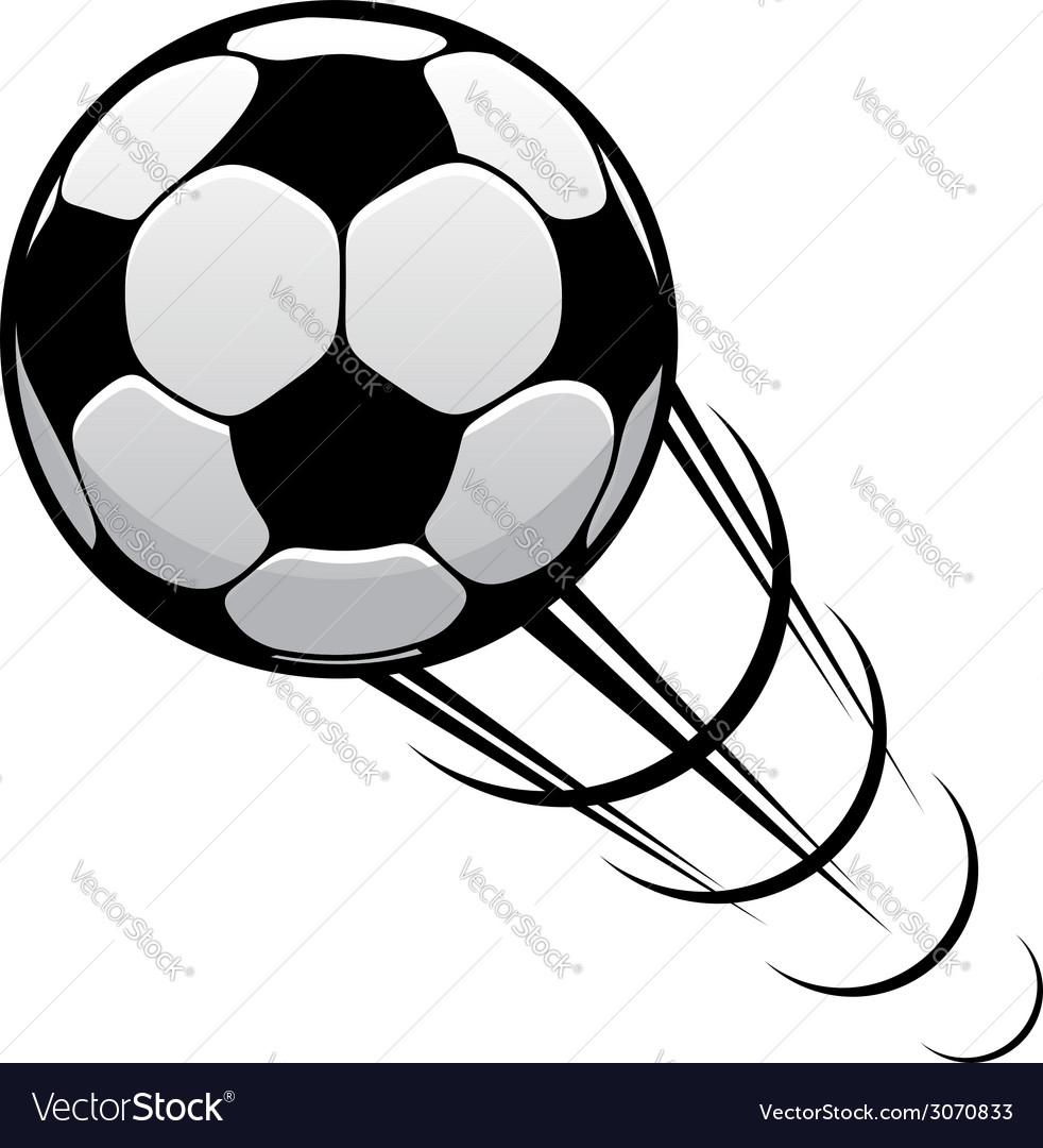 Football speeding through the air vector