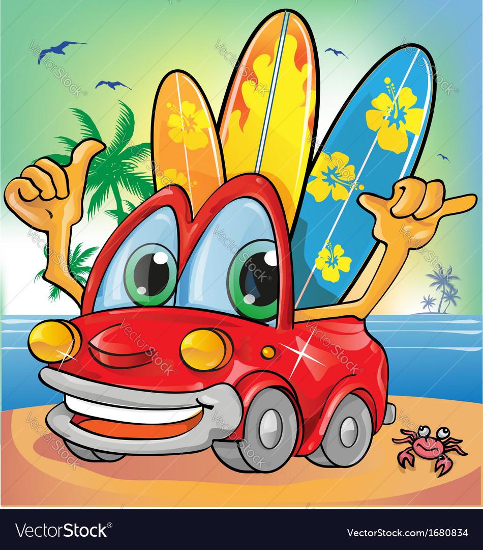 Car holyday on summer background vector