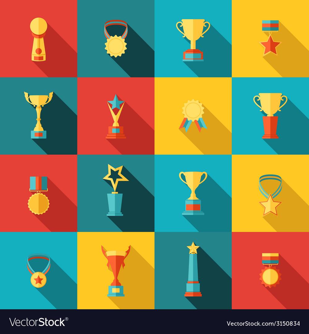 Trophy icons set flat vector