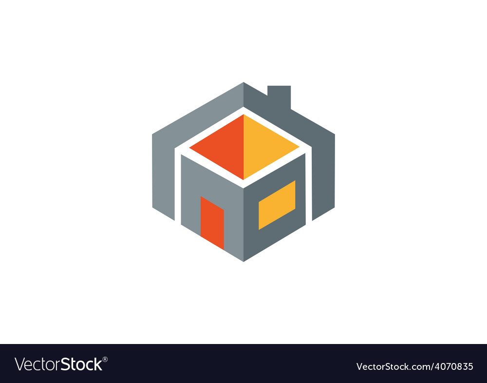 House construction geometry logo vector