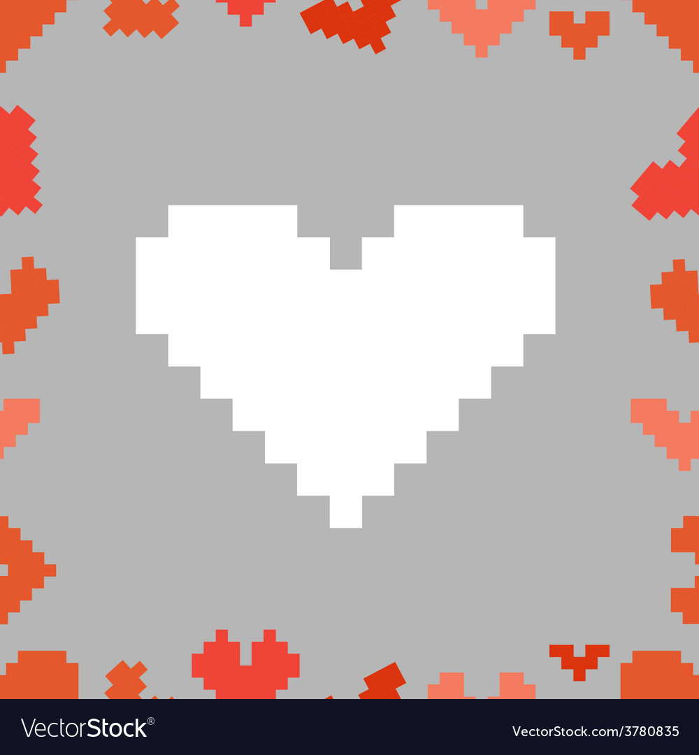 Valentine greeting card with pixel hearts vector