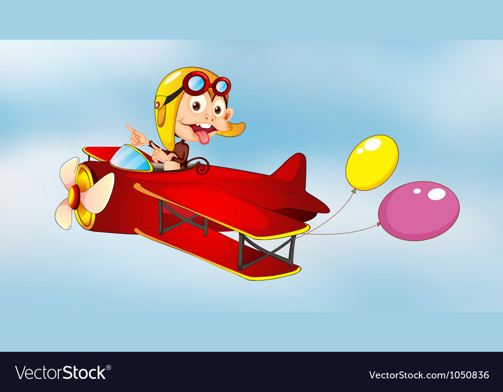Monkey flying in aircraft with balloons vector