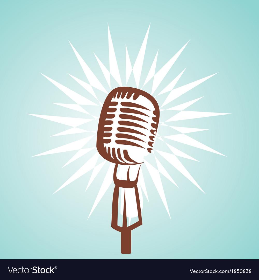 Retro microphone symbol vector