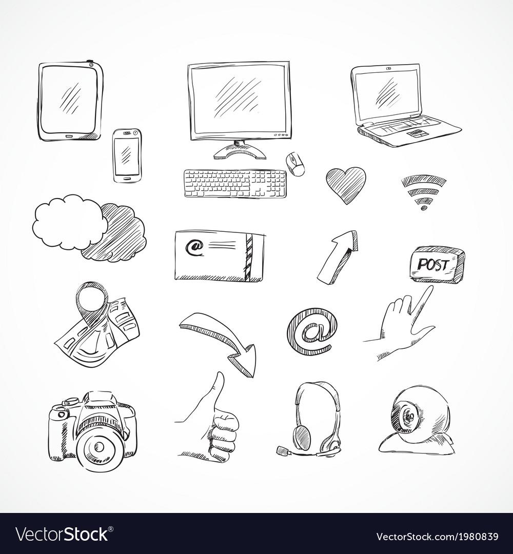 Doodle social media icons set vector