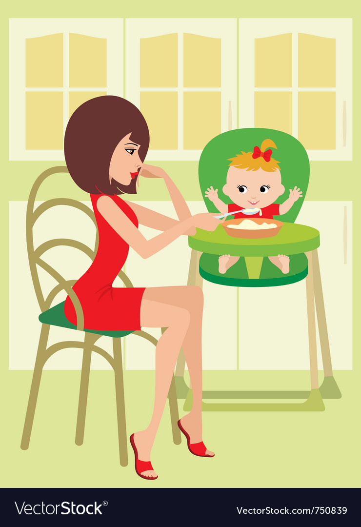 Mum feeds the child vector