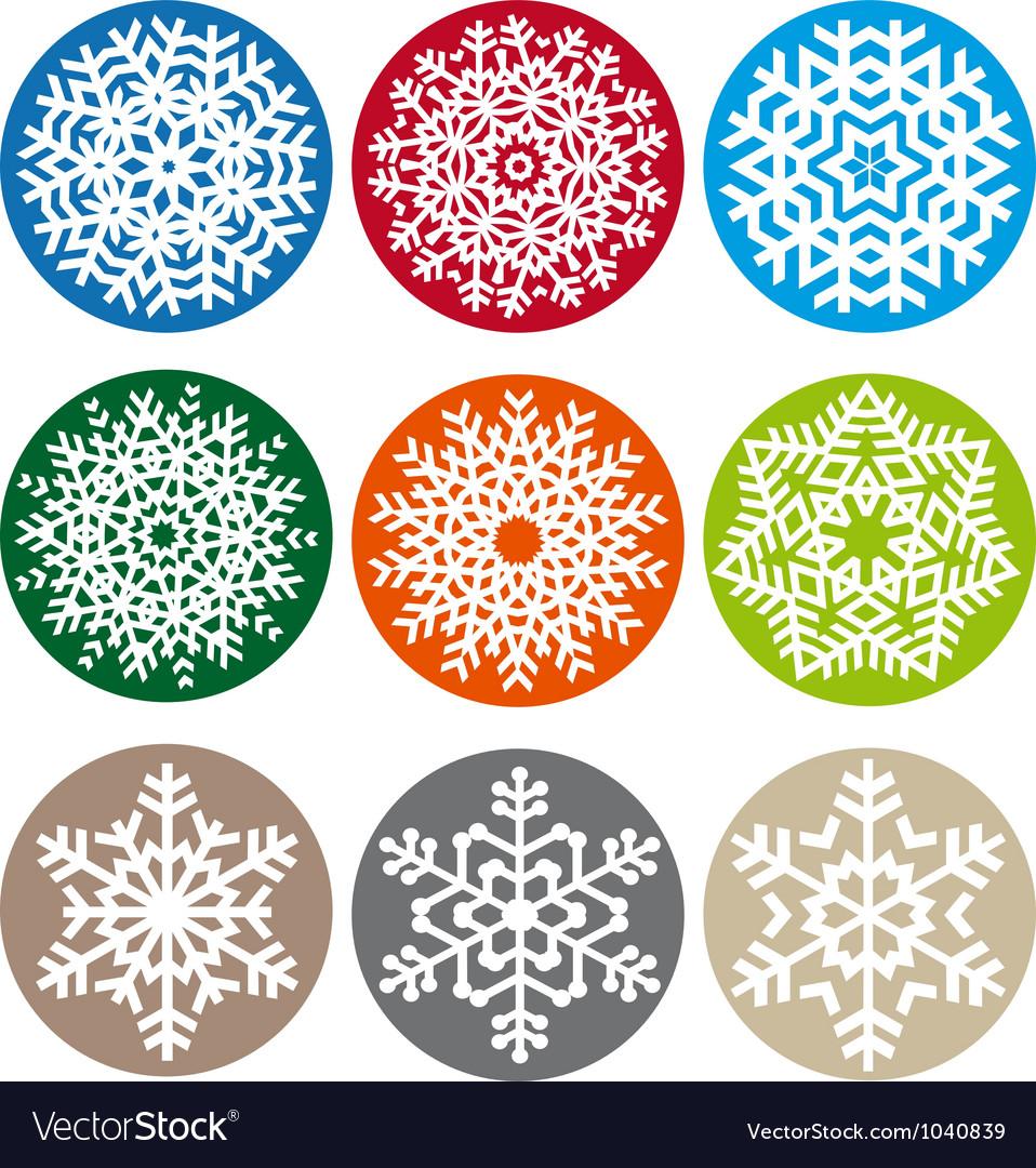 Xmas snowflake set vector