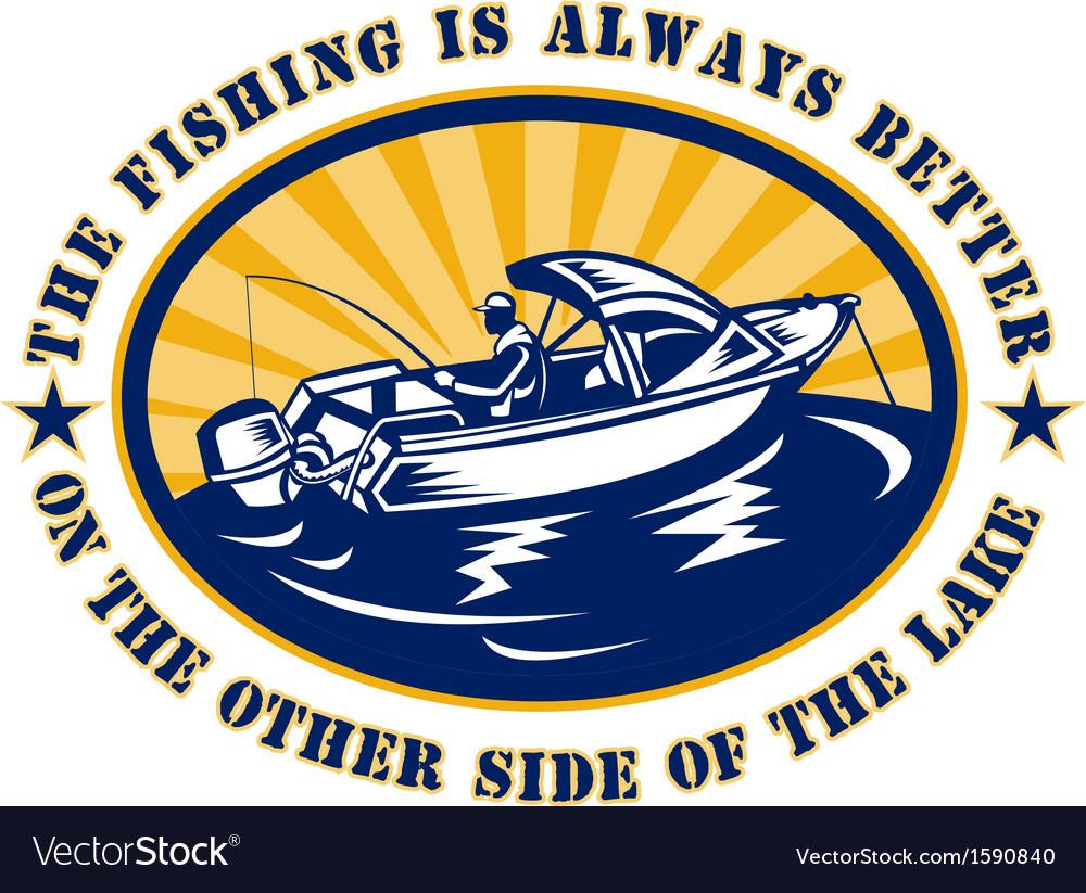 Fisherman fishing boat rod reel vector