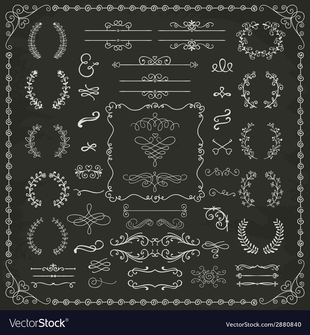 Vintage hand drawn design elements vector